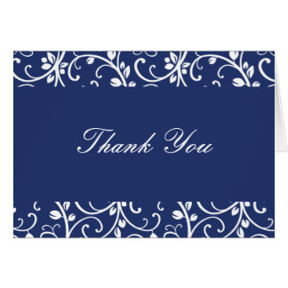 Royal Blue and White Floral Vine Thank You Note Card