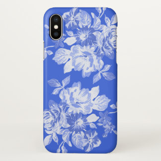Royal Blue and White Floral Watercolor iPhone X Case