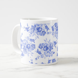 Royal Blue and White Floral Watercolor Large Coffee Mug