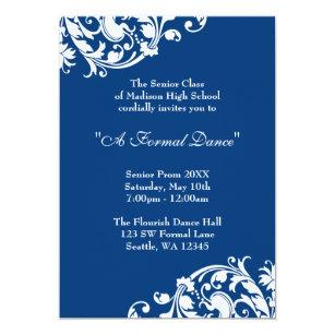 Formal school dance invitations announcements zazzle au royal blue and white flourish swirl prom formal invitation stopboris Image collections