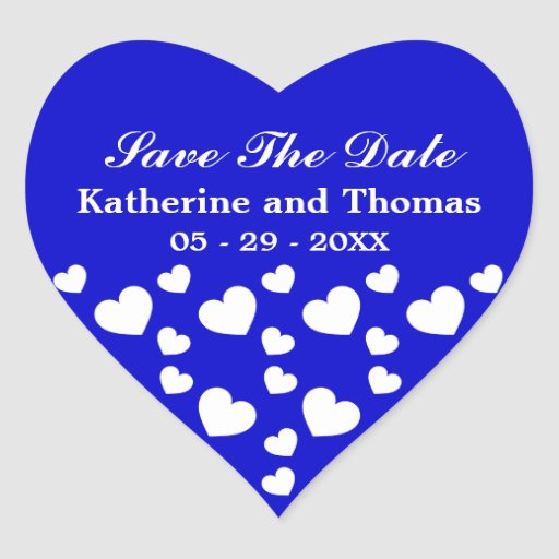 Royal Blue and White Hearts Save The Date Stickers