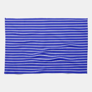 Royal Blue and White Horizontal Stripes Tea Towel