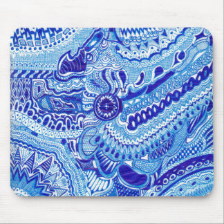 Royal Blue and White Ming style pattern art Mouse Pad