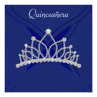 Royal Blue and White Quinceanera Invitations