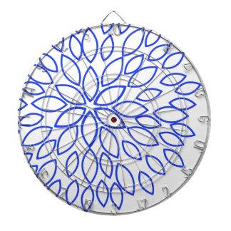 Royal Blue and White Retro Flower Dart Board