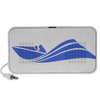 Royal Blue and White Speed Boat iPod Speakers