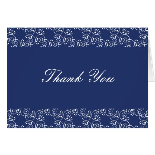 Royal Blue and White Spiral Swirls Thank You Note Cards