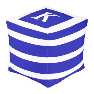 Royal Blue and White Stripe Monogram Pouf