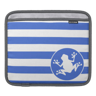 Royal Blue and White Stripes Frog iPad Sleeve