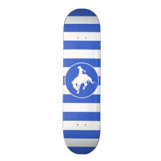 Royal Blue and White Stripes Rodeo Cowboy Skateboard Deck