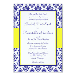 "Royal Blue and Yellow Damask Wedding Invitations 5"" X 7"" Invitation Card"