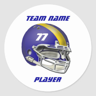 Royal Blue and Yellow Football Helmet Classic Round Sticker