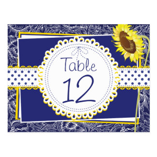 Royal Blue and Yellow Sunflowers Table Card Postcard