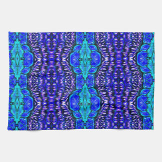 royal blue aqua hippie tiedye rug pattern tea towel