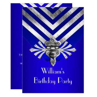 Royal Blue Birthday Party Silver Stripe Card