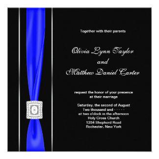 Royal Blue Black Blue Bow Wedding Custom Invite