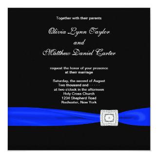 "Royal Blue Black Blue Wedding 5.25"" Square Invitation Card"