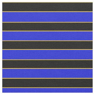 Royal blue/black broad stripe and gold pin stripe fabric