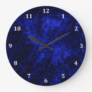 Royal Blue Black Crackle Lacquer Grunge Texture Large Clock