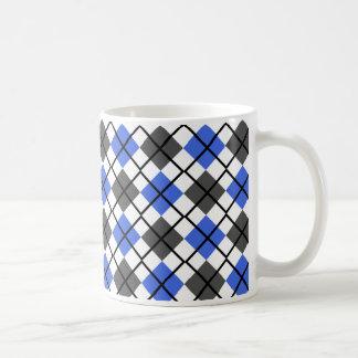 Royal Blue, Black, Grey on White Argyle Print Mug