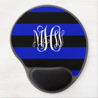 Royal Blue Black Horiz Stripe #3 Vine Monogram Gel Mousepads