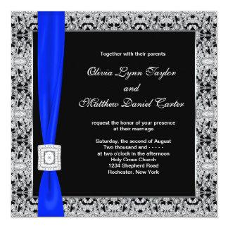Royal Blue Black Lace Wedding 13 Cm X 13 Cm Square Invitation Card