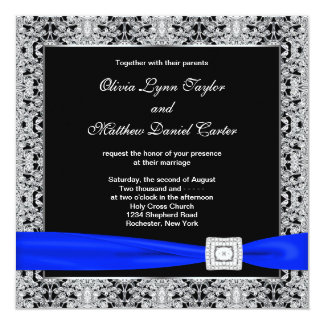 Royal Blue Black Silver Lace Wedding Card