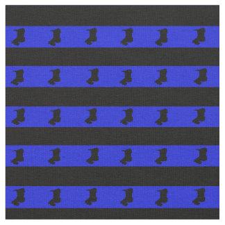 Royal blue, black stripe, black Scottish Terrier Fabric