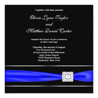 "Royal Blue Black Wedding 5.25"" Square Invitation Card"