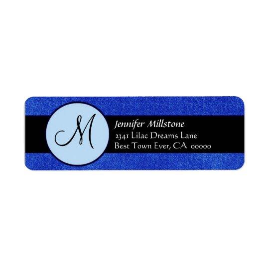 Royal Blue & Black Wedding Monogram Address Label