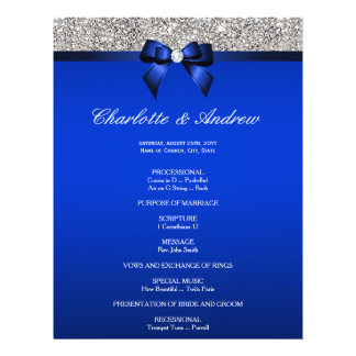 Royal Blue Bow Silver Sequins Wedding Program Flyer