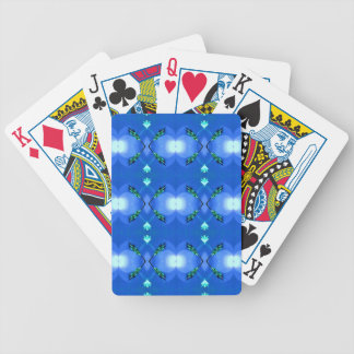 Royal Blue Bright White Fractal Pattern Bicycle Playing Cards