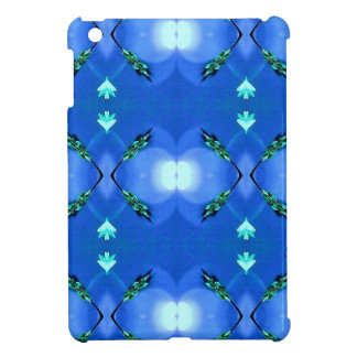 Royal Blue Bright White Fractal Pattern Cover For The iPad Mini