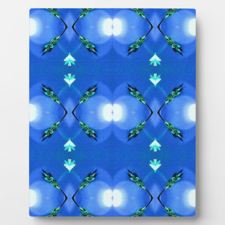 Royal Blue Bright White Fractal Pattern Plaque