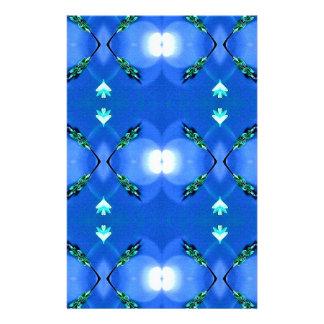 Royal Blue Bright White Fractal Pattern Stationery Design