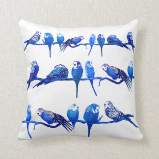 Royal Blue Budgie Bird Parrot Cushion Pillow