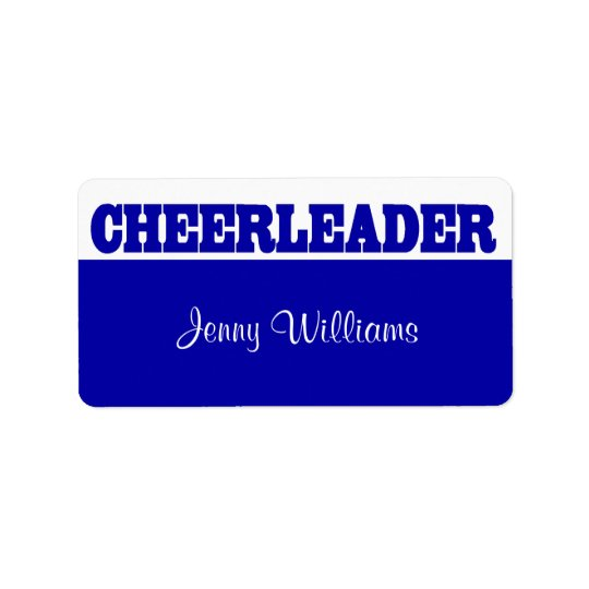 Royal Blue Cheerleader Name Stickers