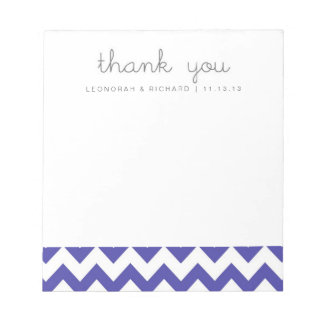Royal Blue Chevron Thank You Notepad Bridesmaid Gi