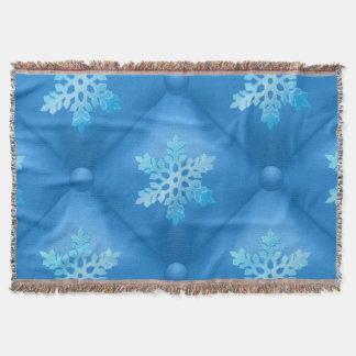 Royal Blue Christmas Snowflake Pattern Throw Blanket
