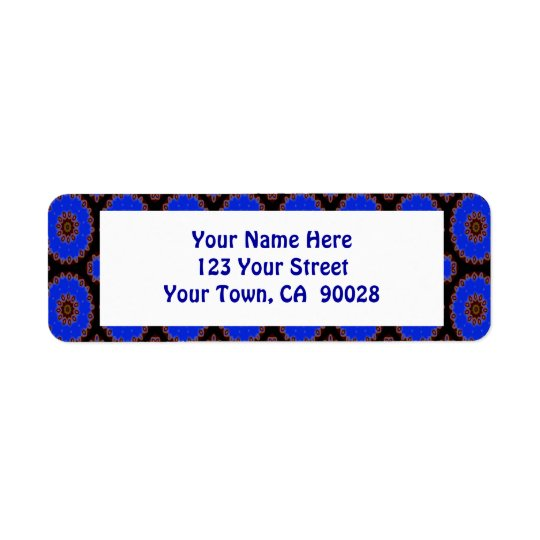 Royal blue circle pattern return address label