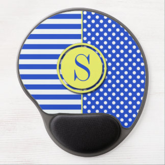Royal Blue Combination Polka Dots And Stripes Gel Mouse Pad