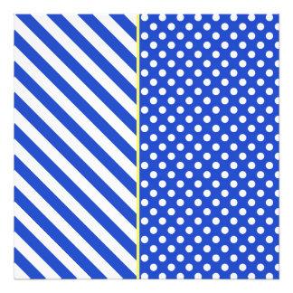 Royal Blue Combination Polka Dots And Stripes Art Photo