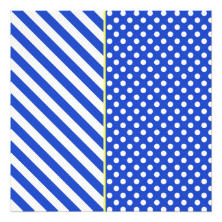 Royal Blue Combination Polka Dots And Stripes Photographic Print