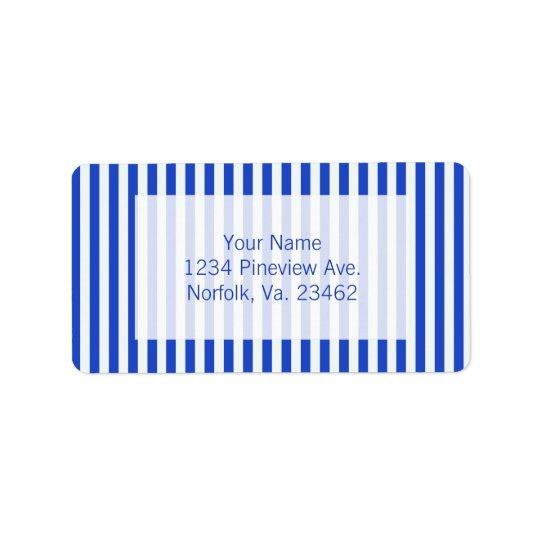 Royal Blue Combination Stripes by Shirley Taylor Address Label