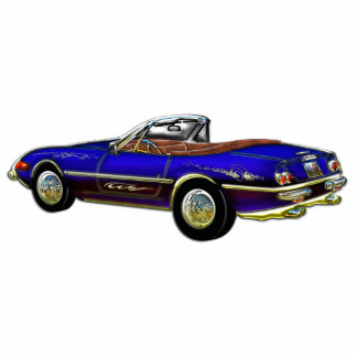 Royal Blue Convertible Sports Car Standing Photo Sculpture