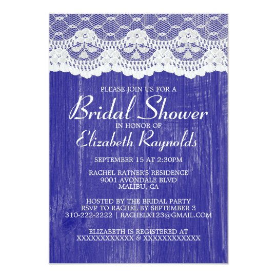 Royal Blue Country Lace Bridal Shower Invitations