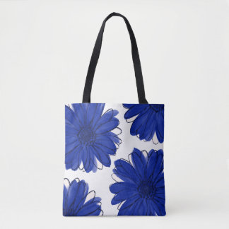 Royal Blue Daisies Tote Bag
