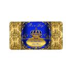 Royal Blue Damask Gold Crown Baby Shower Boy RB3 Label