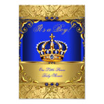 Royal Blue Damask Gold Crown Baby Shower Boy SMALL 9 Cm X 13 Cm Invitation Card
