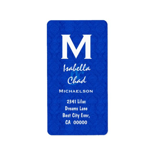 Royal Blue Damask Monogram V568 Address Label